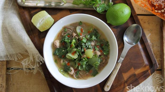 Spicy Asian chicken noodle soup will