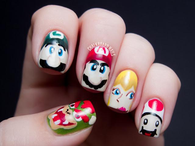 Mario character nail art