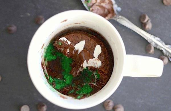 Mint chocolate chip cake in a