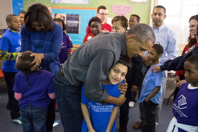 Michelle and Barack Obama at boys and girls club