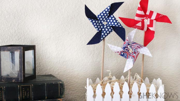 DIY craft idea: Festive fabric pinwheels