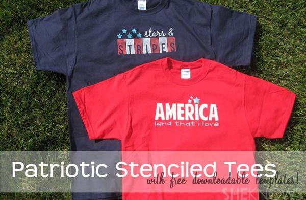 Patriotic stenciled tees (with free templates!)