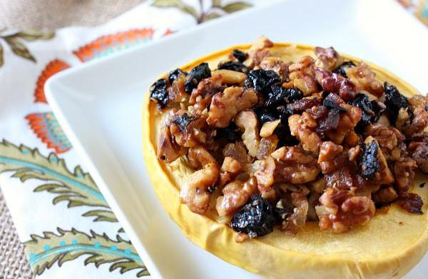 Nut-stuffed acorn squash