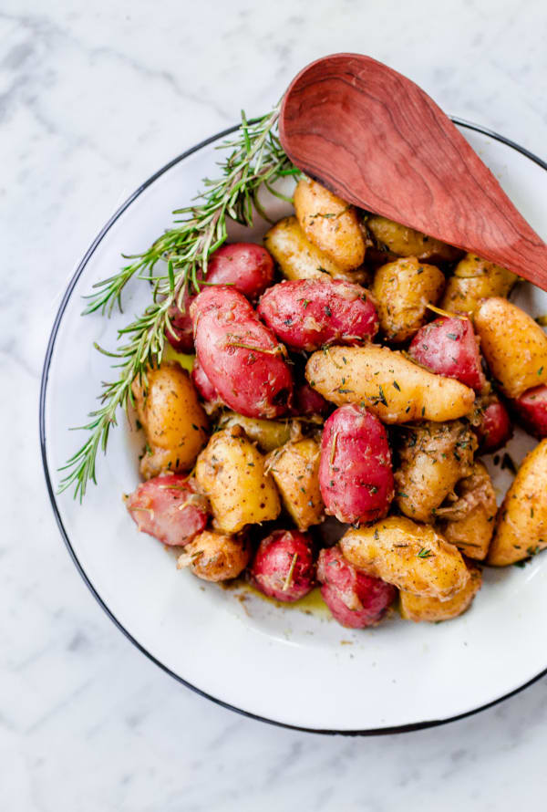 Braised fingerling potatoes with bone broth