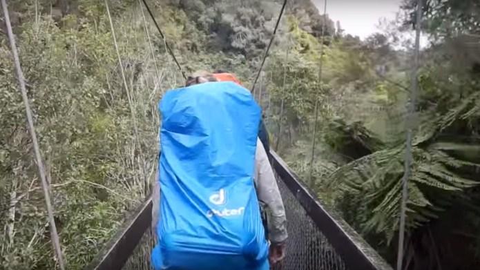Watch as suspension bridge collapses under
