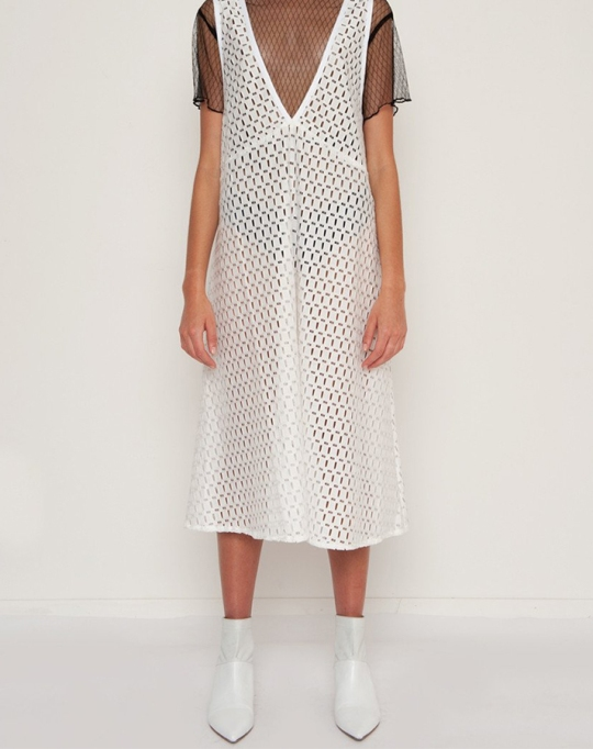Fall fashion trends: White Eyelet Tank Dress | Fall Fashion 2017