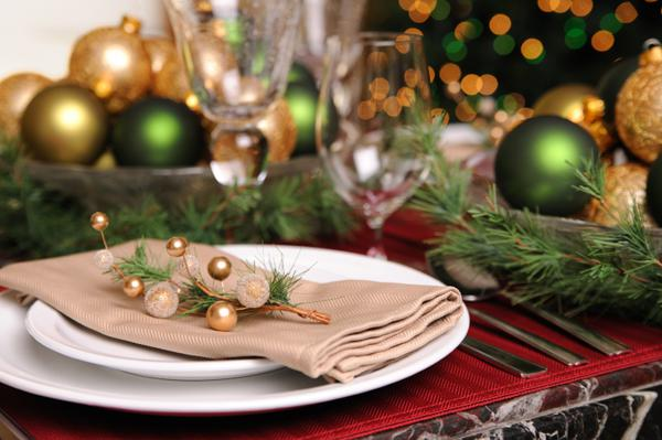 Festive holiday table settings