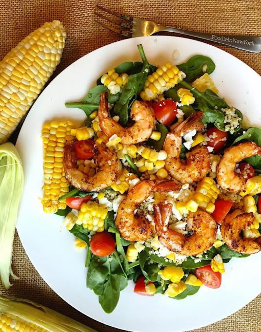 Summer salad with corn and shrimp