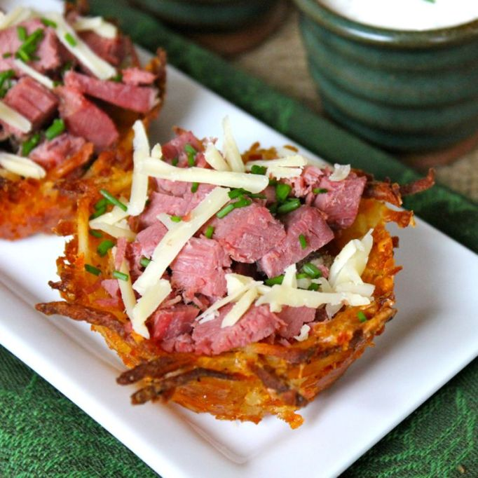 corned beef and cheddar potato nests