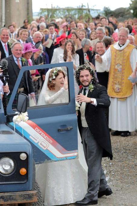 Kit Harrington and Rose Leslie departing Rayne Church in Kirkton on Rayne