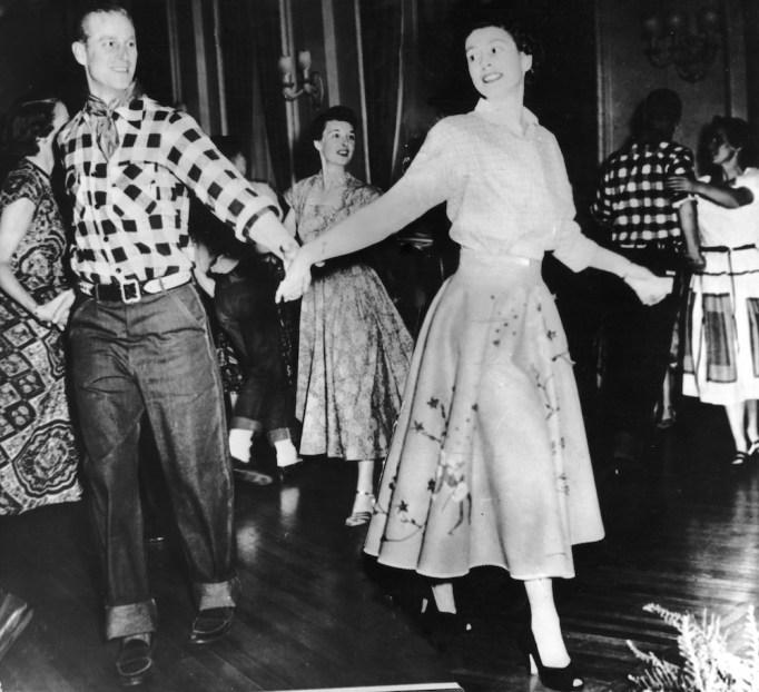Queen Elizabeth & Prince Philip square dance October 1951