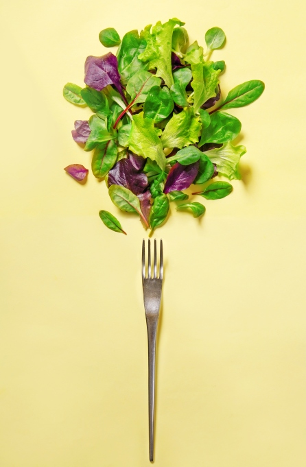 Fork with array of green leafy vegetables on yellow background