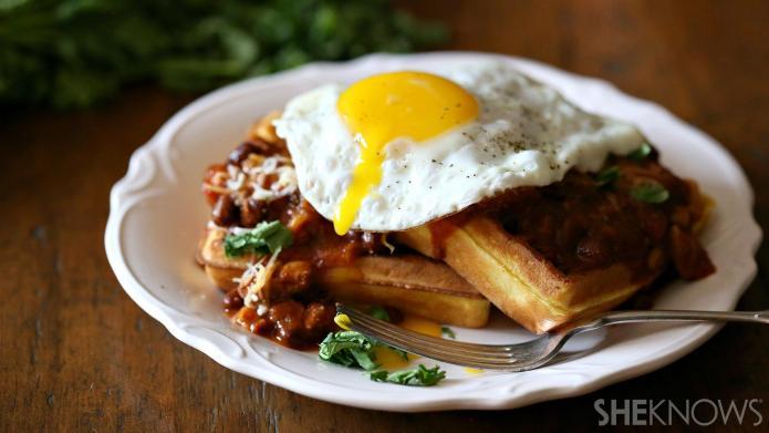 Make breakfast for dinner with cornbread