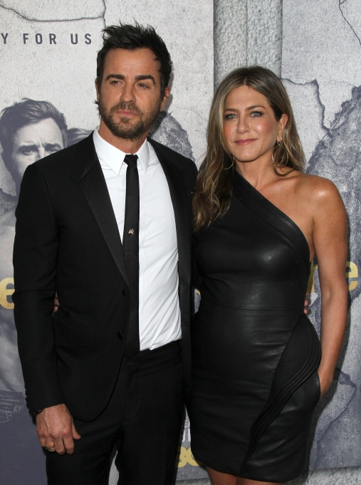 Justin Theroux and Jennifer Aniston on the red carpet for The Leftovers