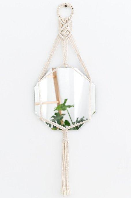Mkono Hanging Wall Mirror with Macrame Hanger