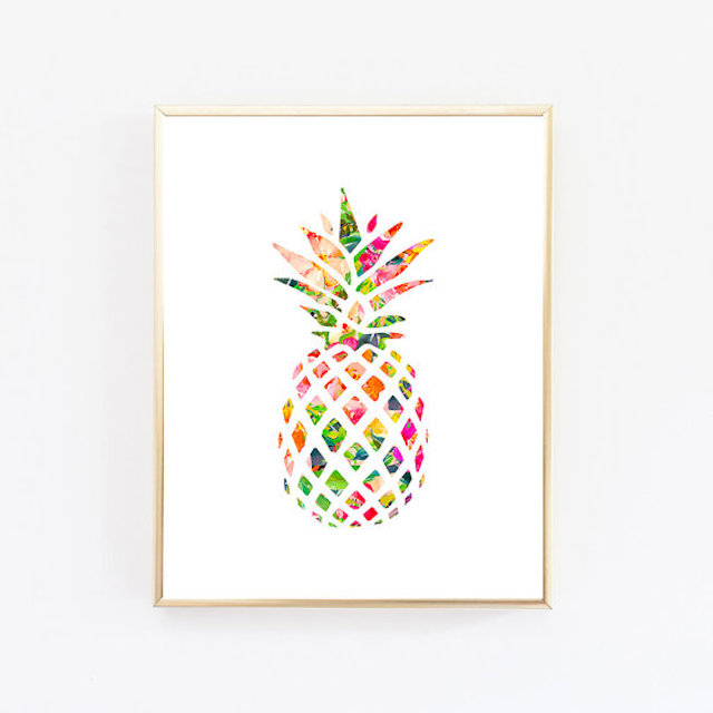 multicolored pineapple wall art