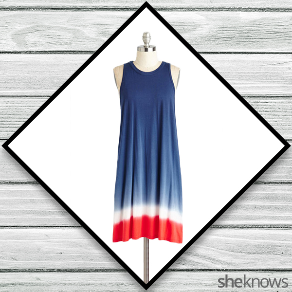 Red, white and blue tie-dye dress