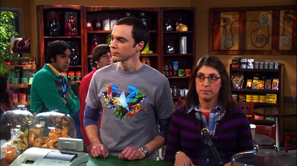 The Big Bang Theory still of Sheldon and Amy