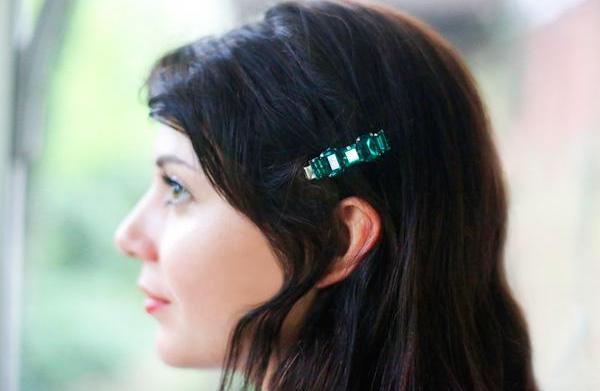 DIY jewel-embellished hair clips