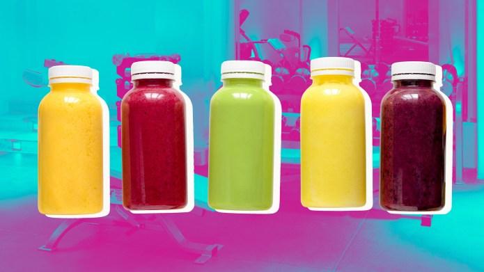 Bottles of juice on a gym