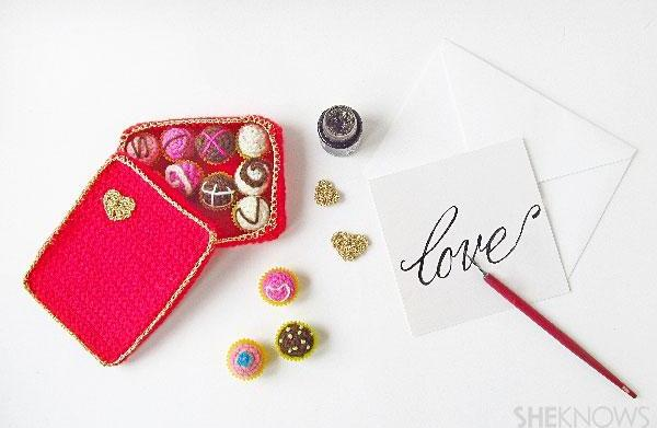 Valentine's Day crocheted box of chocolates