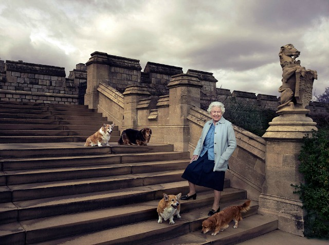 Queen and her corgis photographed by Annie Leibovitz