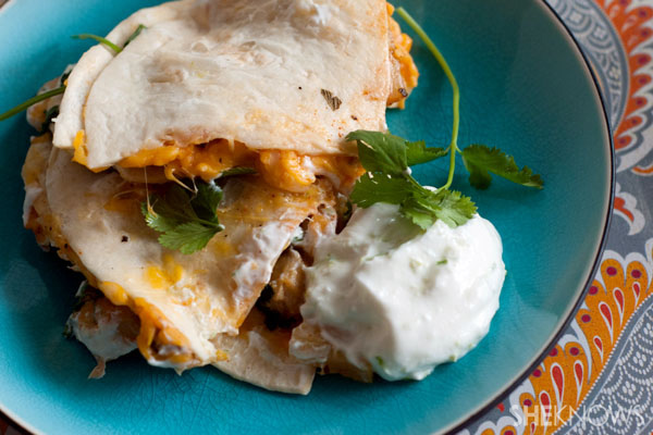 Spicy pineapple jerk chicken quesadillas recipe