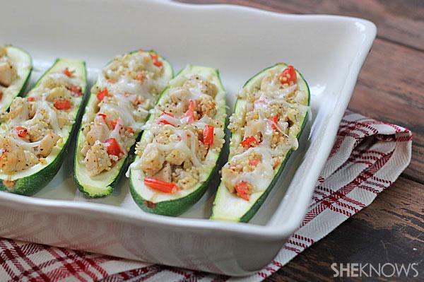 Quinoa and chicken-stuffed zucchini boats