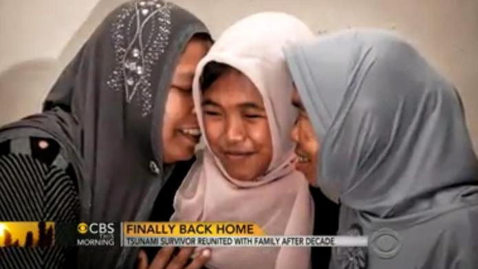 Tsunami victim reunited with her parents