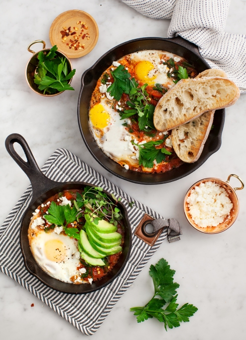 One-pot summer meals | Shakshuka with spinach and harissa