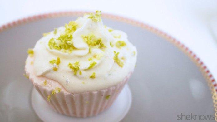 Lime and raspberry ice cream cupcakes