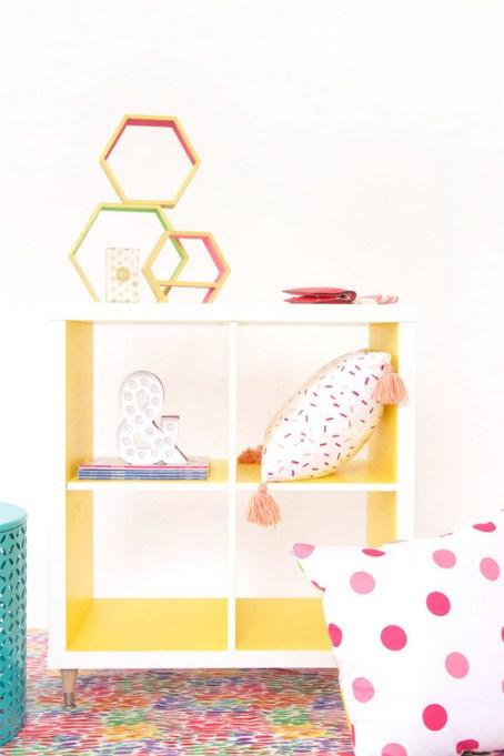 Brightly painted Ikea Kallax