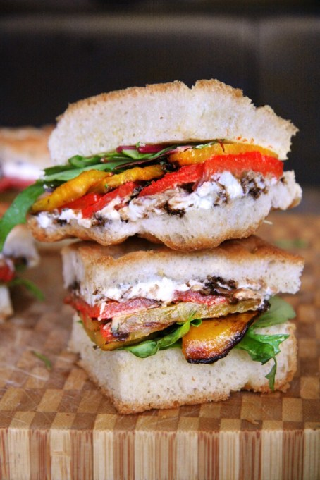 Summer sandwich recipe: this vegetarian sandwich is loaded with roasted golden beets, sweet red peppers and goat cheese.