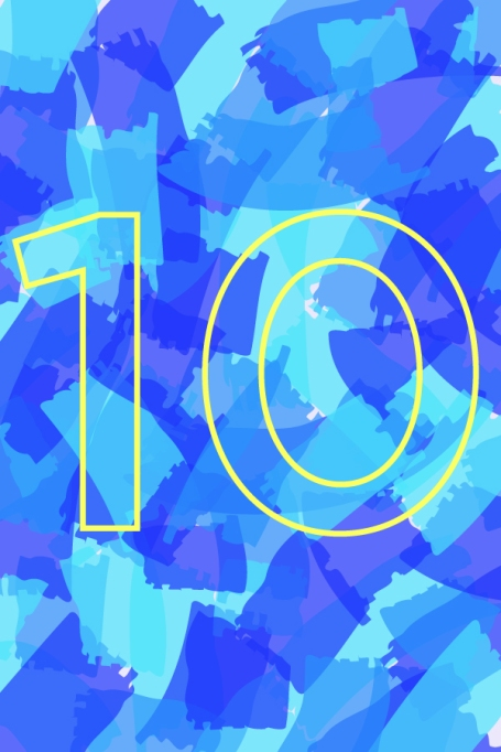 Number 10 on a colorful background