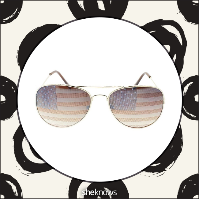 Women's Sylvia Alexander American flag aviator sunglasses