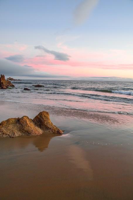 Sunset over beach in California