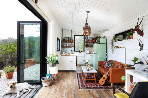 Tiny home with large glass doors