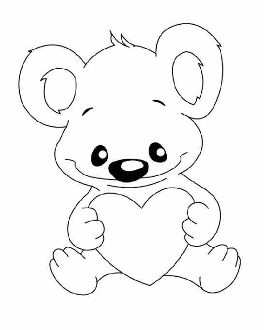 Valentine's Day Coloring Pages: Koala bear