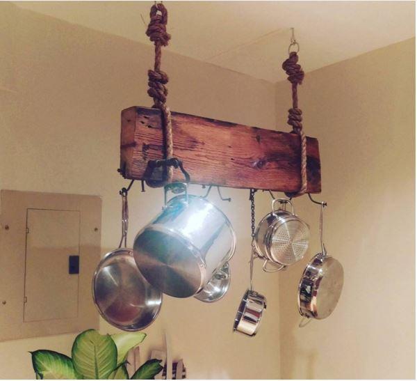 Hanging Wooden Pot Rack