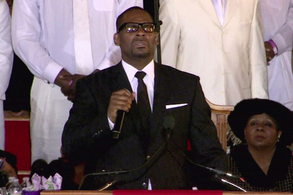 R. Kelly performs at Whitney Houston's funeral