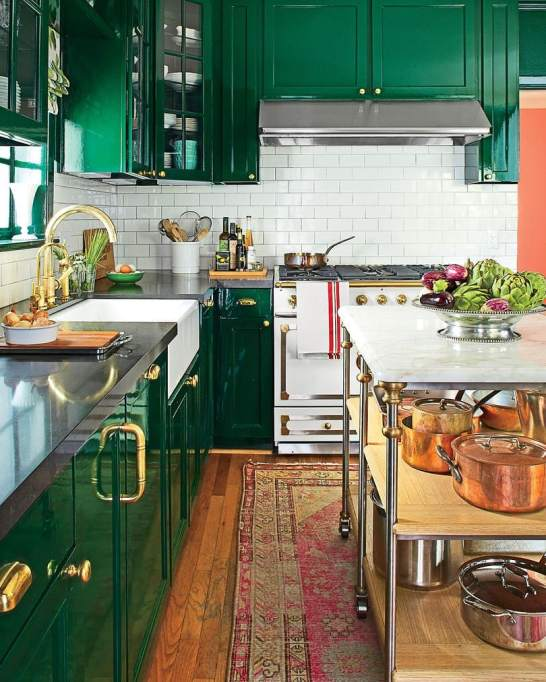 Rich Green Cabinets Kitchen