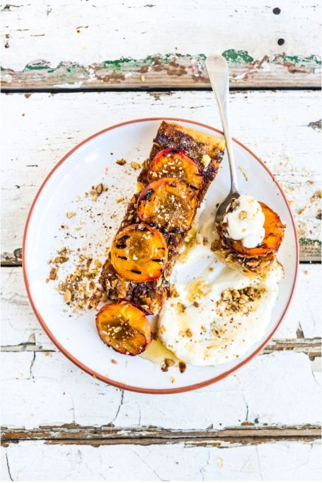 Grilled dessert recipes: Butter cake with labneh, dukkah and grilled fruit makes for an intriguing dessert