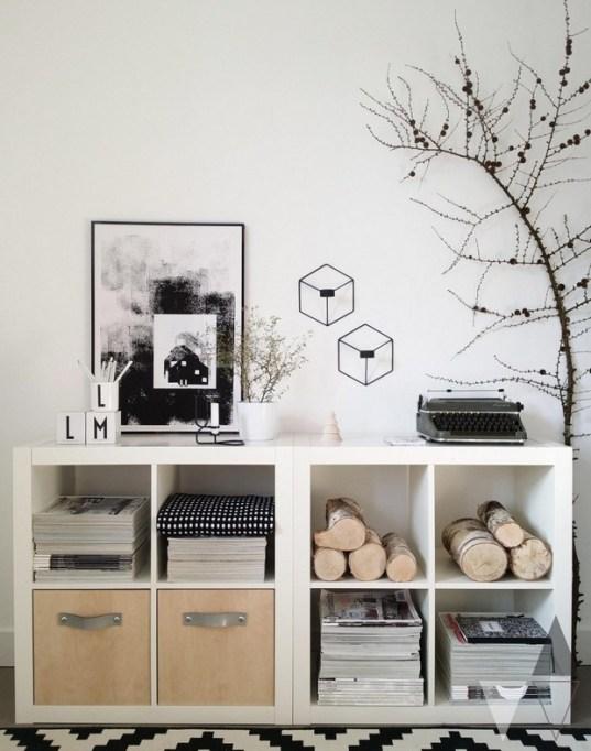 Two Ikea Kallax shelves side-by-side