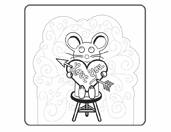 Valentine's Day Coloring Pages: Mouse