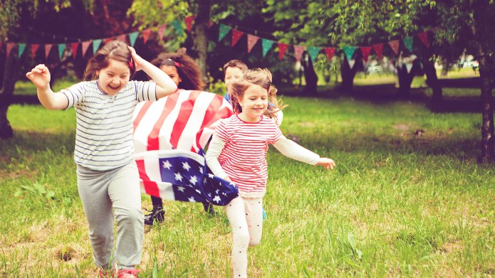 Kids running on Fourth of July