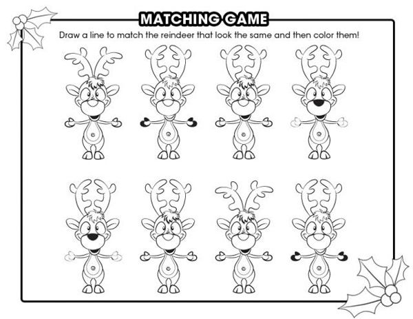 reindeer matching game 53 christmas themed coloring