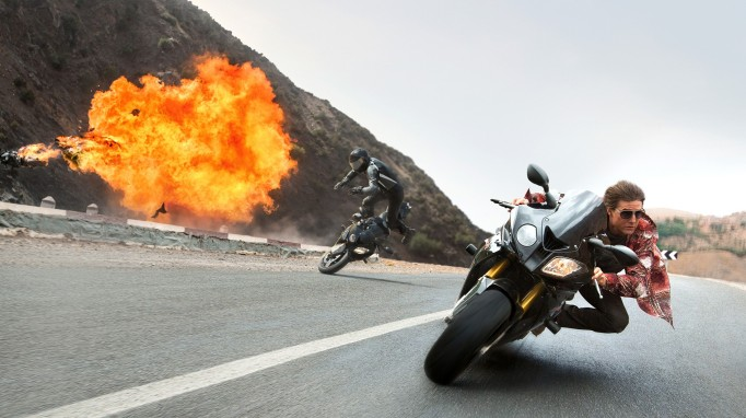 Tom Cruise on a motorcycle in Mission Impossible: Rogue Nation