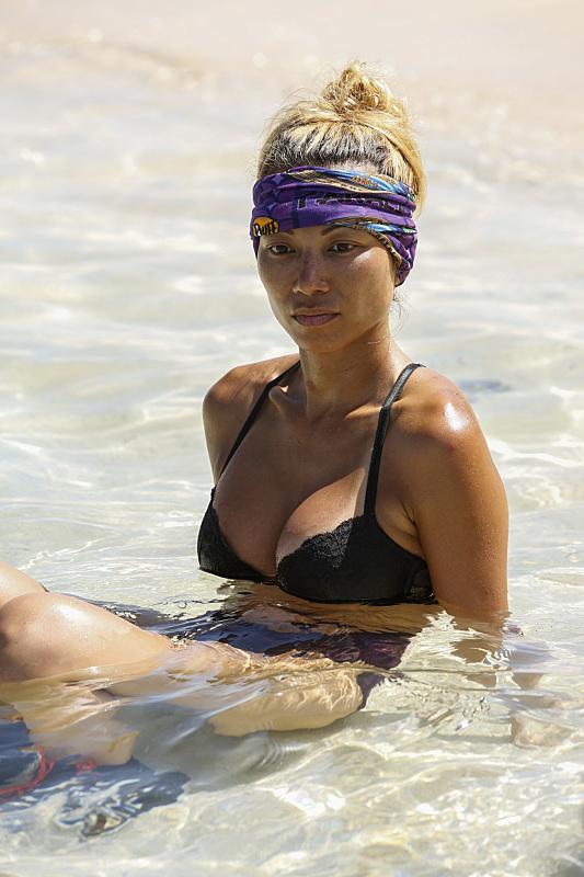 Rachel Ako in the water at Gen-X camp on Survivor: Millennials Vs. Gen-X