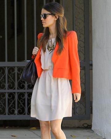 Rachel Bilson wearing orange scarf