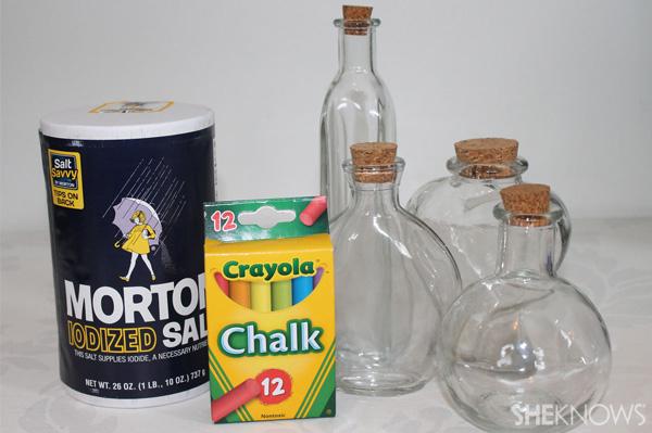rainbow salt in a jar supplies